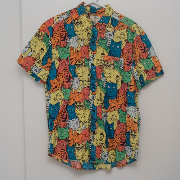 Urban Outfitters Shirts Uo Cat Button Up Short Sleeve Poshmark